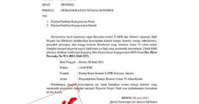 Calon Birokrat Harap Waspada, Hati-hati Beredar Surat Palsu Tentang Pengangkatan Honorer