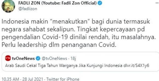 Covid-19 Makin Mengganas, Fadli Zon : Indonesia Makin Menakutkan Dunia